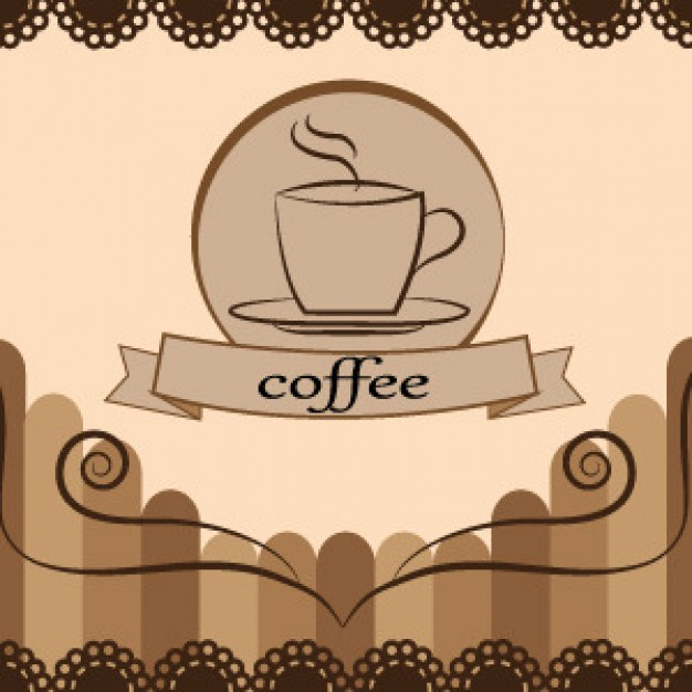 coffee card design in middle of vintage frame with floral border