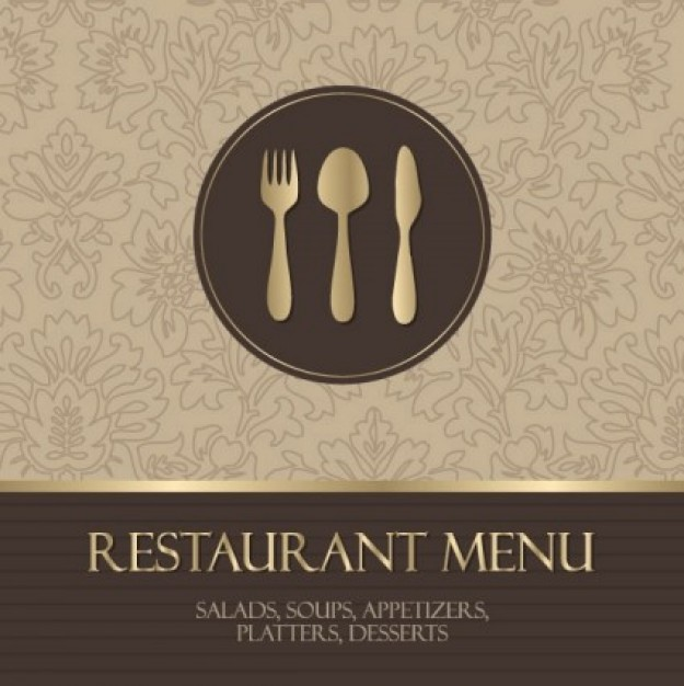Cutlery western Food restaurant menu cover with spoon fork knife on flower tracery about Forks  Kniv