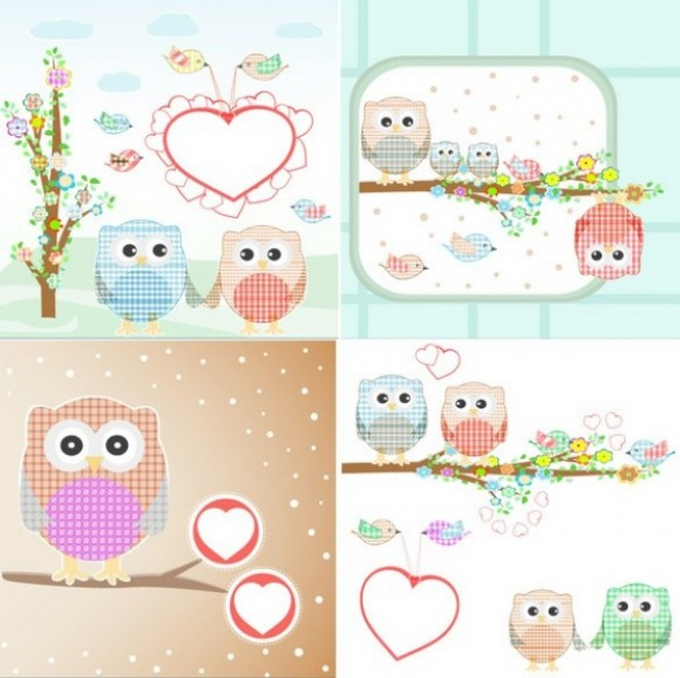 Day Valentine Holidays owls of cloth in four scenes about Home Cooking