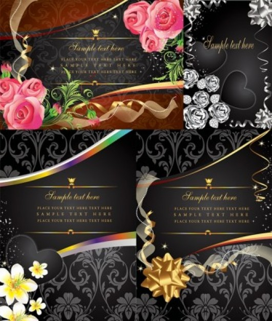 flower card with rose heart black smart pink golden