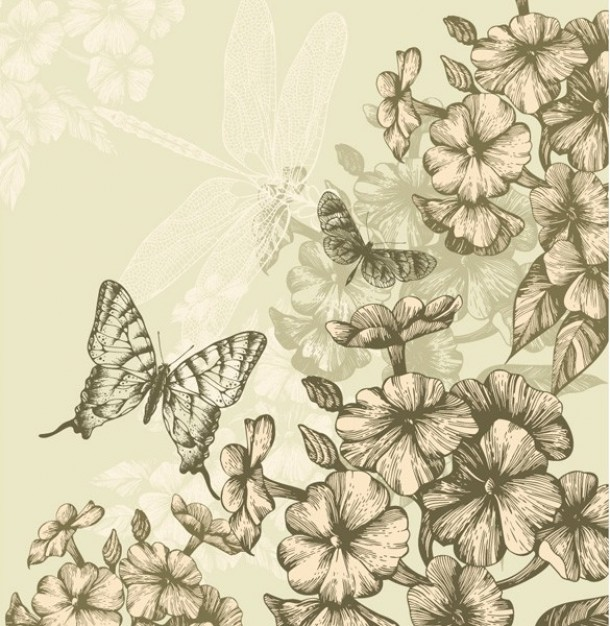 flying floral Crafts butterfly background pack flowers about Decorative Painting