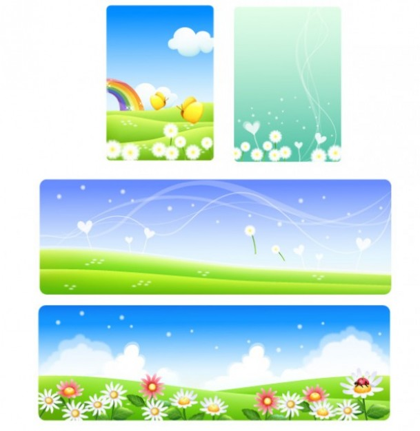 four spring background with flowers rainbow wind
