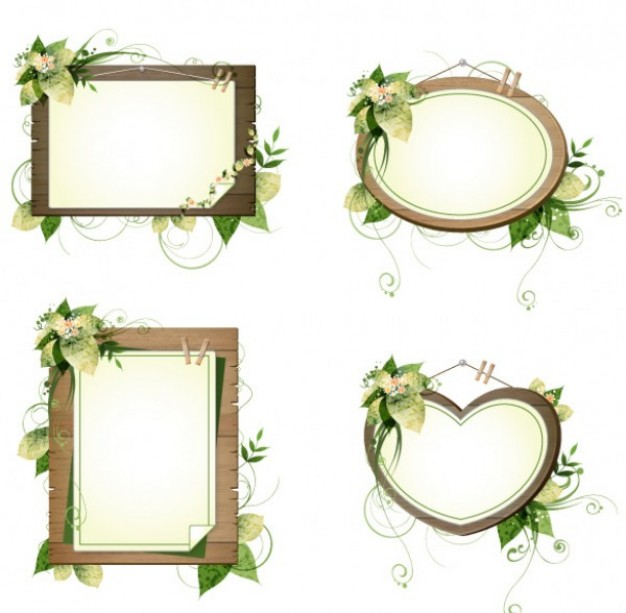 four wooden frames with floral decoration in heart square etc