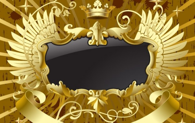 Gold Baroque black banner with wings about golden art