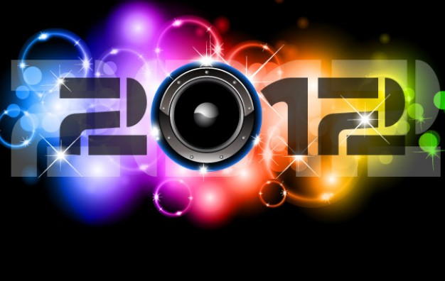 happy new year 2012 Backdrop with Lighting