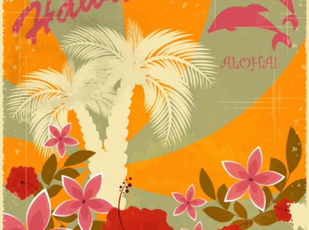 Hawaii hawaiian retro holiday background set about flowers dolphin