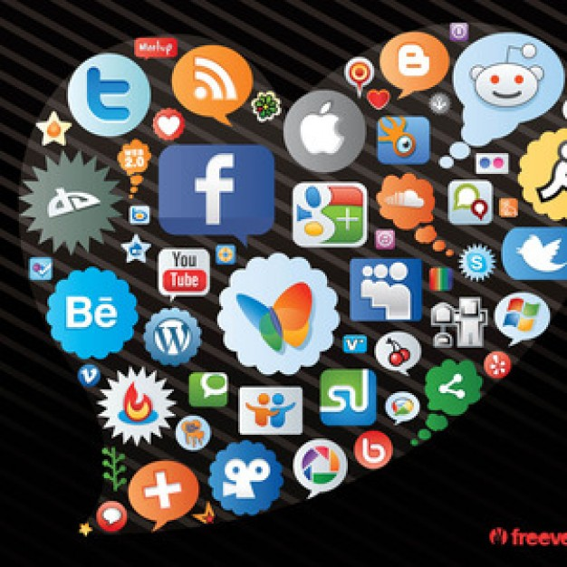 heart figure made of social network icons like twitter facebook