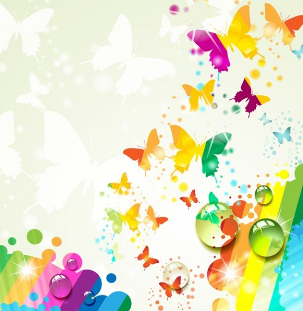 multicolor roses and butterflies over light butterfly shadow