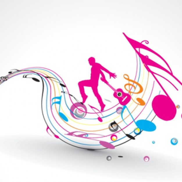 Music man Arts dancing over colorful music design elements notes silhouettes about music Guitar