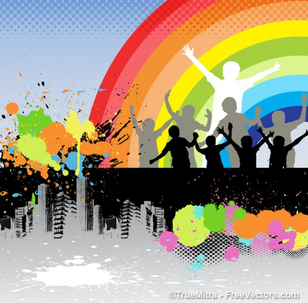 Paint dancing childrens under the rainbow about Arts Relationships