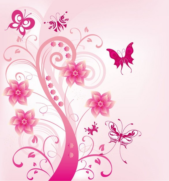 Pink Arts floral swirl with butterfies illustration about Arts and Entertainment Business