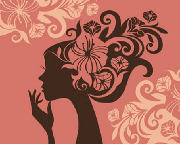 pink illustrations girl with floral flower silhouette ...