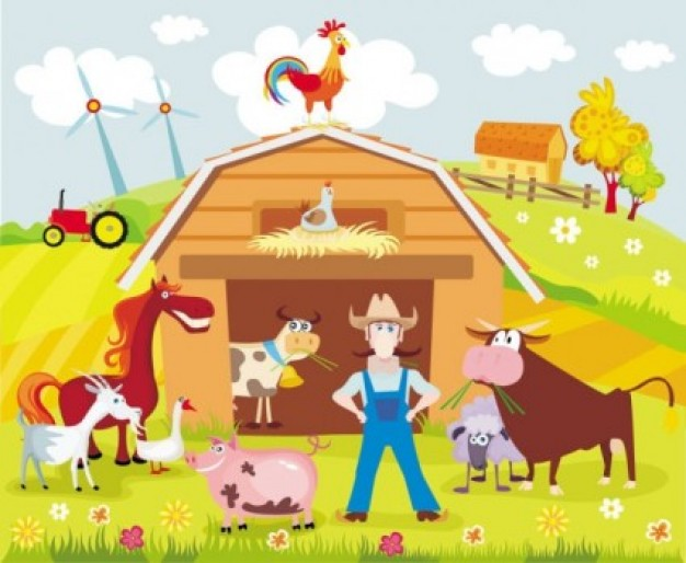 Poultry colorful cartoon farm background about Livestock Home