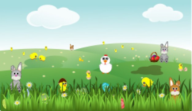 Rabbit easter landscape with bunnies chicks eggs chicken flowers about easter material