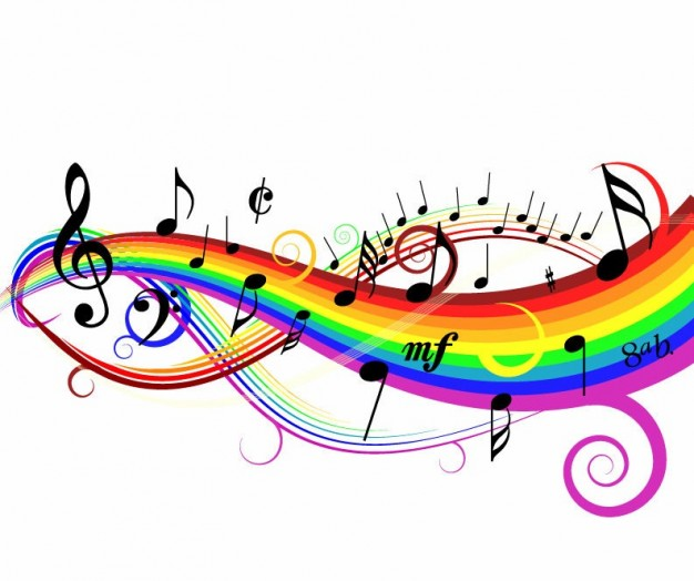 Reading colorful Music background illustration about rainbow Tempo Clef