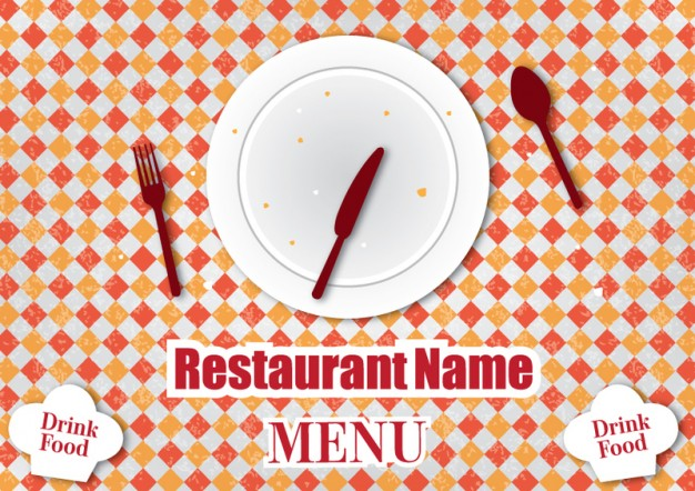 restaurant menu design template with fork plate