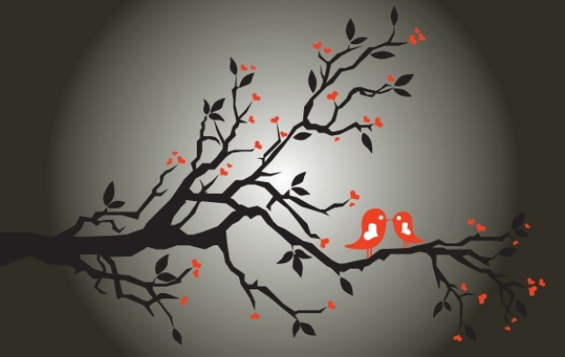 Silhouette flower Bird love tree silhouette about Arts