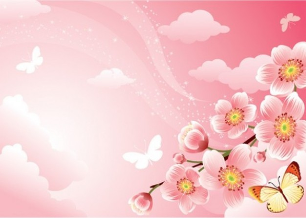 stylish pink blossoms illustrator over pink sky and cloud butterfly