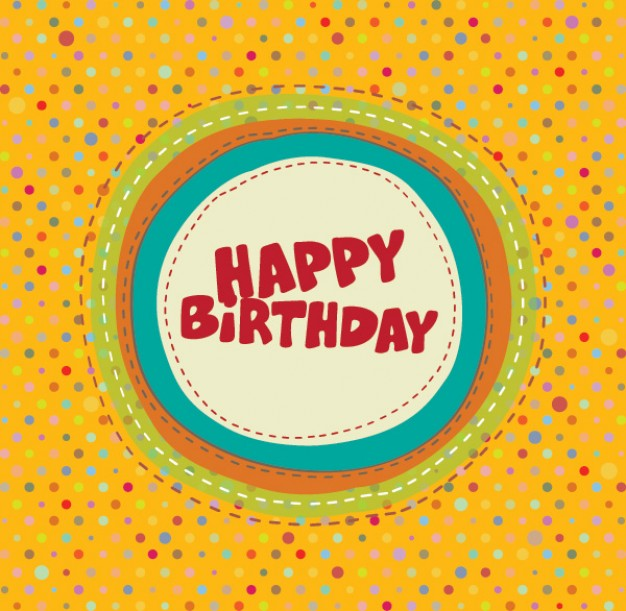 Today colorful birthday card about yellow dot pattern background