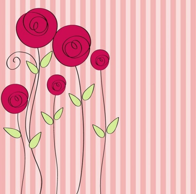 valentines day hand Flowers drawn style floral romantic background about Pink Bobbi Brown