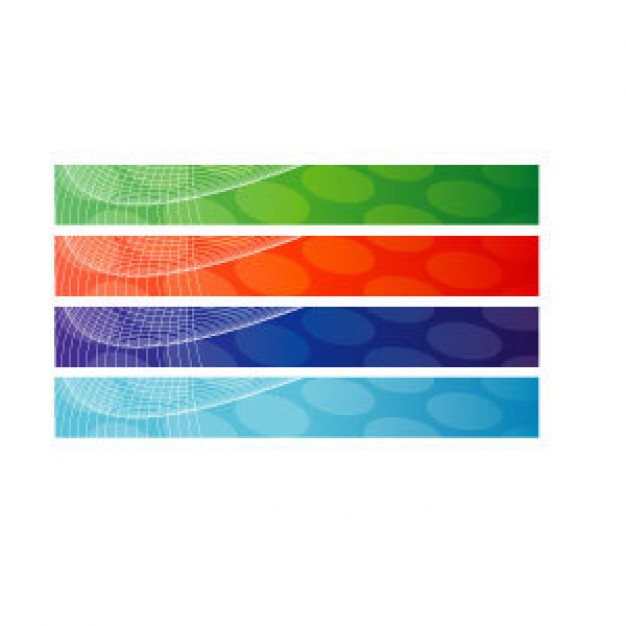 abstract banner backgrounds in green red blue purple