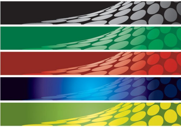abstract flying banner background set in different color style