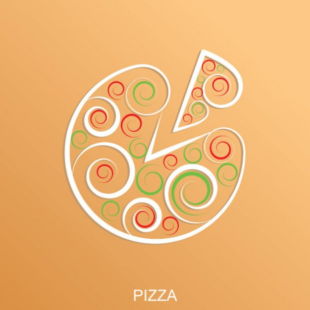 abstract pizza over Peach Orange background