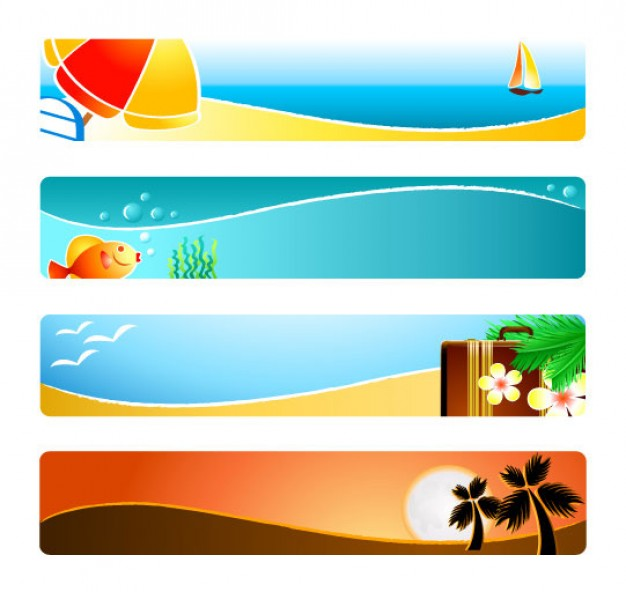 banner material pack with sunny beaches