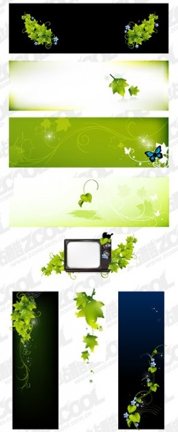 banner material with green leaf butterfly