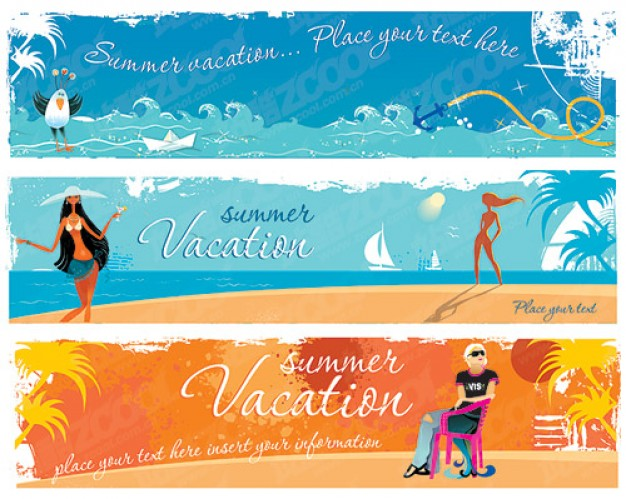 banner template material trend for summer vacation