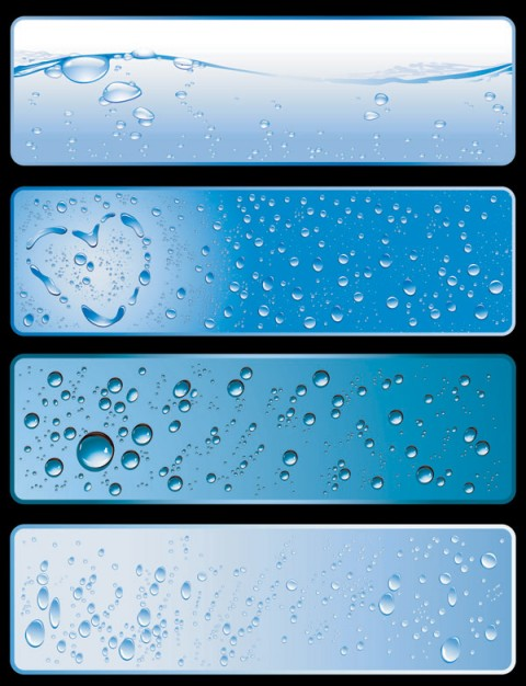 banner theme material with water and glob