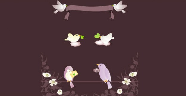 banner with love birds and ribbons over chocolate background