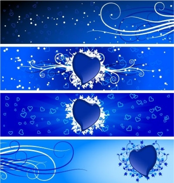 banners in blue for valentine card design
