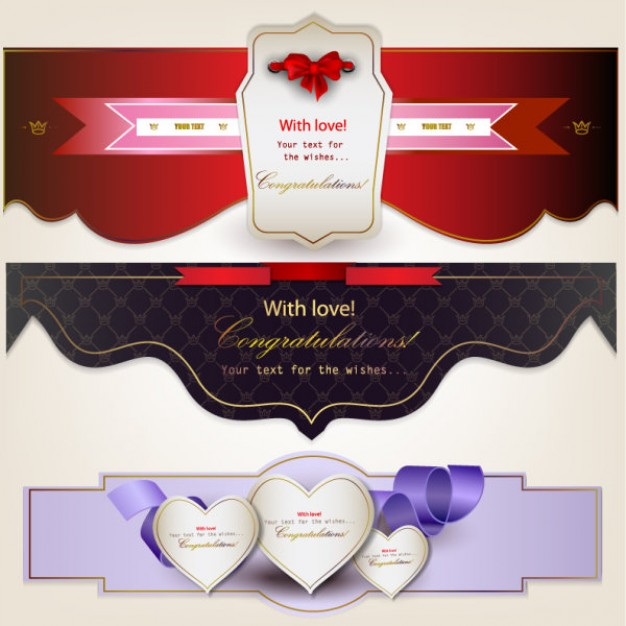 banners with ribbons and hearts in three types