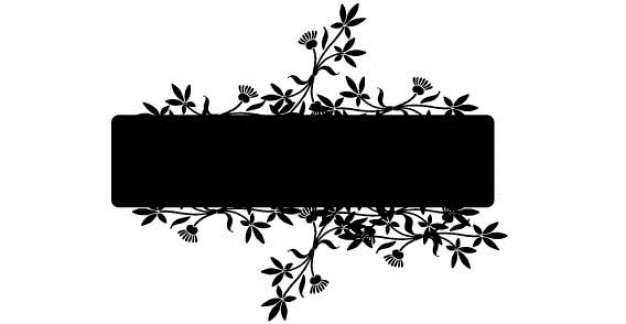black banner with swirl and flower