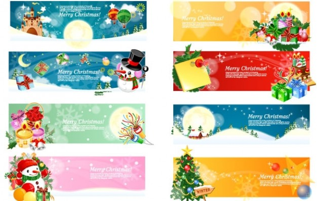 christmas banners pack with elk tree snowman gift