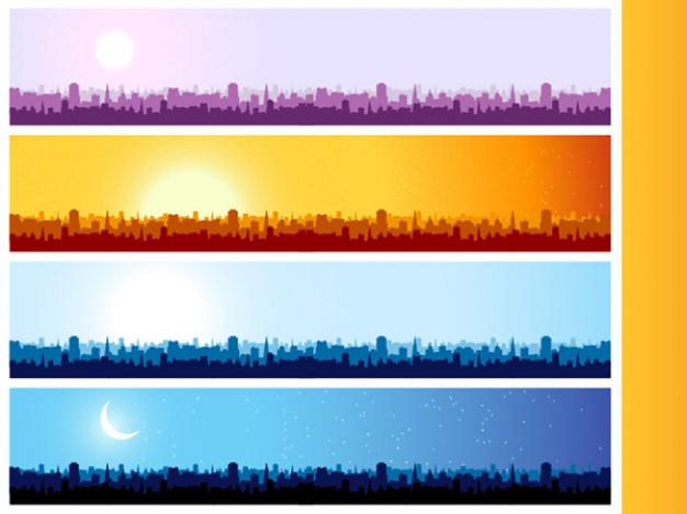 city silhouette banner background with Building sunburst