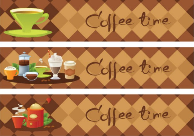 coffee time theme banners with cup drink