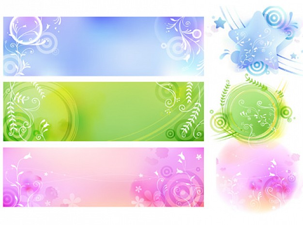 color and floral shapes backgrounds banner