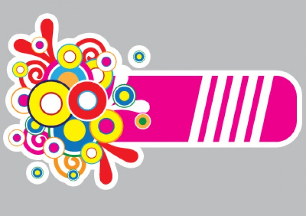 colorful banner with circle pink line