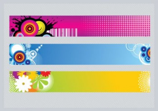 colorful banners eps photoshop tutorial with target circles and flowers