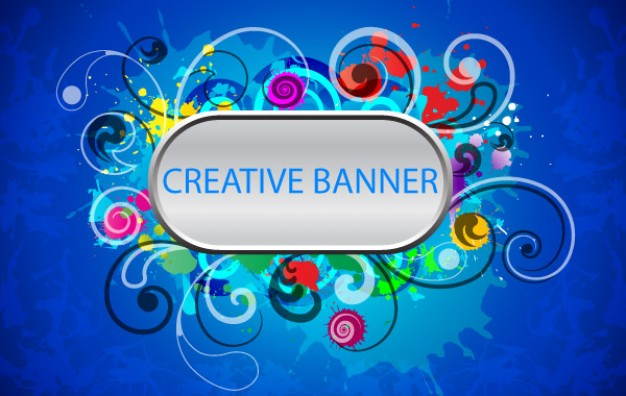 creative banner with swirl flowers Ornaments