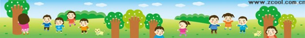 cute long pieces of south korea illustration children in forest