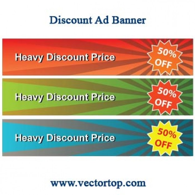 discount advertisement banners with radiant sunburst