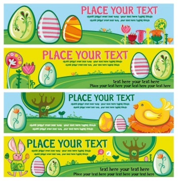 easter banners with eggs bird tree rabbit