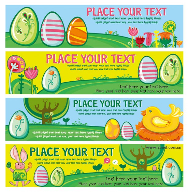 easter eggs banner material in cartoon style