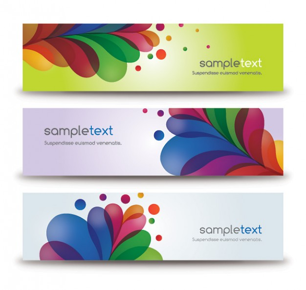 Elegant banners with colored leaves and dots like feather