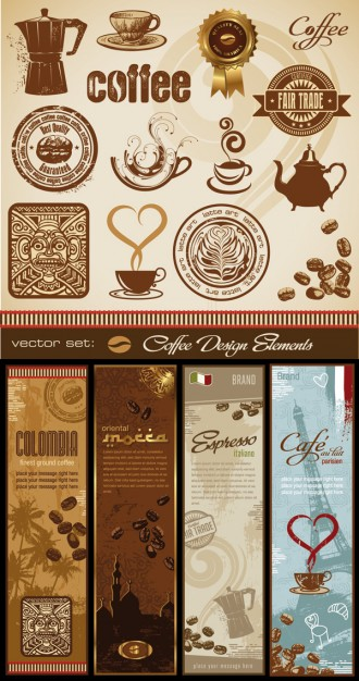 elegant coffee and totem clip art for coffee product cover