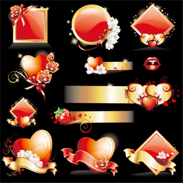 element material of glittering love over black background