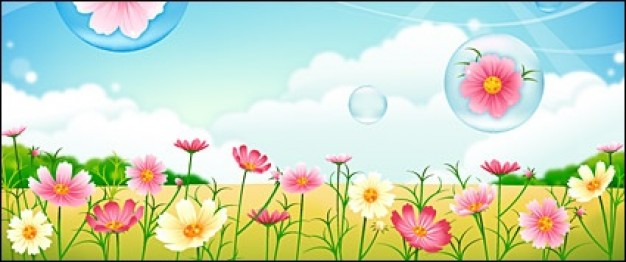 flower garden with cloud and blue sky bubbles